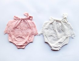 Wholesale Ins Hot New Fashion Baby Girl Bodysuits Infant Bow Layer Lace Solid Color Jumpsuit T Only Have Bodysuit