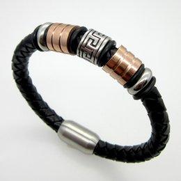 Wholesale New Fashion Bracelet Jewelry Men Leather Stainless Steel Great Wall lines Bracelets Bangles Man Bracelet Innovation Design