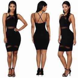 Descuento damas mini vestido vestido Las mujeres ahuecan hacia fuera el vestido de bola de la correa de espagueti del V-cuello Mimi viste los vestidos delgados del partido de las señoras del vestidos de Dressless Backless