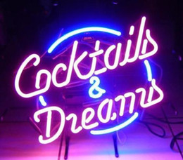COCKTAILS AND DREAMS Real Glass Neon Light Sign Home Beer Bar Pub Recreation Room Game Room Windows Garage Wall Sign