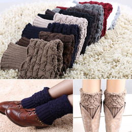 Wholesale-Hot Sale New Women Ladies Crochet Knitted Shell Design Boot Cuffs Toppers Knit Leg Warmers Winter Short Liner Boot Socks LW09