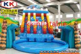 Wholesale Kids backyard fashionable pool slides commercial inflatable water slide decorated door