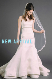 New High Quality Romantic Lace Edge 1T Without Comb handmade Lvory White Knee Wedding Veil Bridal Veils