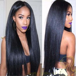 180% Density Brazilian Human Hair Italian Yaki Silk Top Glueless Full Lace Wig with baby hair