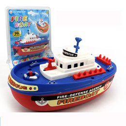 Wholesale Children toys Electric water spray fire boat plastic Flashlight Water Spray boat Rescue Fireboat