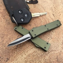 New Army green Mini action knife Drop point 440 Single Blade T6 Aluminum Handle EDC knife camping knife outdoor knife knives