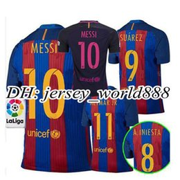 Wholesale Top Thai Barcelona home jersey soccer MESSI ARDA A INIESTA SUAREZ SERGIO PIQUE I RAKITIC NEYMAR JR Spain away football shirt