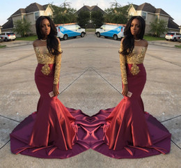 Wholesale Charming African Style Off Shoulder Prom Dresses Gold And Burgundy Evening Gowns For Black Girls Long Sleeve Sweep Train Formal Dresses