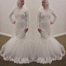 Fashion Mermaid HIgh Neck Lace Wedding Dresses Long Sleeves Muslim Appliques Luxury Pearls Beaded Arabic Dubai 2016 Bridal Dresses Gowns