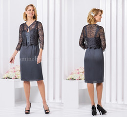 Grey 2016 Jasmine Mother Of The Bride Dresses Elegant Chiffon Knee Length With Lace Jackets Formal Prom Wedding Party Dress