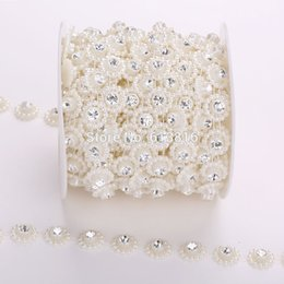 10yards lot 14mm Flat Back Pearl Rhinestones Roll Chain Trimming Strand For Craft Wedding Decoration Hair Jewelry DIY Finding