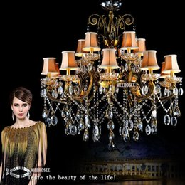 Wholesale Hot Selling Big Crystal Chandelier Antique Brass Color hanging light Fitting Large Crystal Lustres Chandeliers for Hotel Project