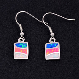 Wholesale & Retail Fashion Blue & Red & White Fine Fire Opal Earrings 925 Silver Plated Jewelry For Women EJL1528001