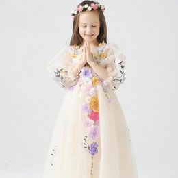 2016 First Communion Dress A Line Floor-Length Lace Appliques Flower Girl Dresses For Weddings Party Birthday Halloween Gift