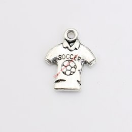 Wholesale 25pcs Antique Silver Plated Soccer Shirt Charms Pendants for Necklace Jewelry Making DIY Handmade Craft x15mm