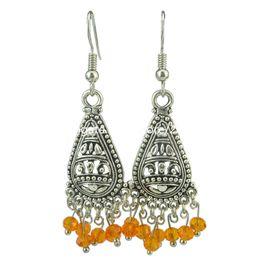 Vintage Silver Filigree Teardrop Heart Orange Faceted Beads Dangle Hook Earrings