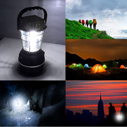 Wholesale 5 Methods Power LED Solar Camping Barn Lantern Hand Crank Dynamo Rechargeable Portable Car Charge Railroad Flashlight Hiking Emergencies