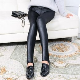 Wholesale Cheap Faux Pants - Sexy Women Faux Leather Stretch High Waist leggings Pants Tights Street Style Ladies Thick warm Tights Cheap women leggings winter Clothes