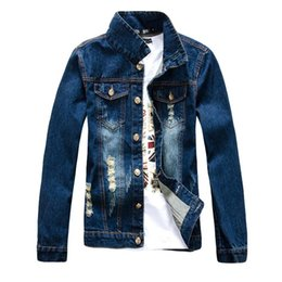 Wholesale 2016 Spring Autumn New Arrival Fashion Printing Alphabet Design Denim Jacket Men Slim Fit Jacket Jean Jacket Casual Men Brand Jacket