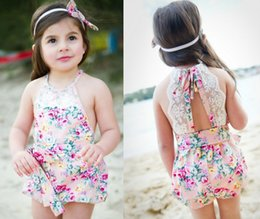 Wholesale Exclusive baby girl kids infant toddler floral lace romper onesies diaper covers bloomers Lace Camisole strap pants belt bow knot headwrap