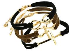 Fashion Jewelry Bowknot Cross Infinity Charm Leather Cord Bracelet Alloy Infinity Bracelets For Women Multicolor