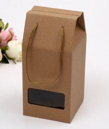 Latas de papel en venta-logo Venta directa de fábrica se pueden imprimir Kraft cajas de papel de embalaje verde engrosada bolsos al horno caja de pastel de caramelo Envasado de alimentos bags21 * 10 * 10cm