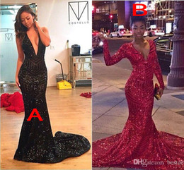 Long Sleeves Sequins 2K16 Prom Dresses 2016 Plunging V Neck Black Girl Evening Dresses Mermaid Party Gowns Sweep Train Evening Dresses