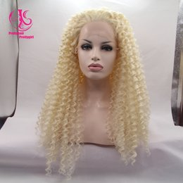 HOT sales! Fashion Free shipping off blond curly wig synthetic lace front wig heat resistant curly wig glueless for black women
