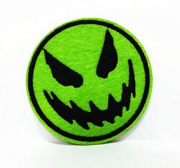 Wholesales~10 Pieces Halloween Green Pumpkin Smile Face (7 cm x 7 cm) Punk Patch Embroidered Applique Iron on Patch (ALS)