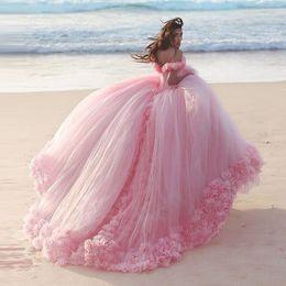 Romantic Pink Wedding Dresses Princess Ball Gowns 3D-Floral Appliques Big Puffy Modest Bridal Gown Short Sleeve Plus Size Bride Dress Cheap