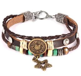 Leather Wrap Bracelet Men's Bangle Alloy Three Layer Leather Fashion Retro Charm Jewelry For Women Retro bracelets Free shipping