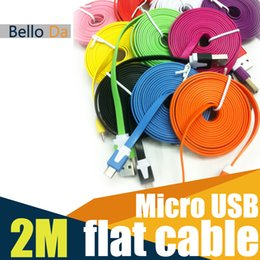 Wholesale M3FT Micro V8 USB Flat Cable USB Sync Data Charger flat rubber noodle cables for SAMSUNG HTC BlackBerry all Android system