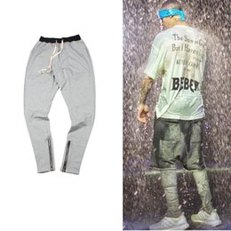 Wholesale-TOP sport gym clothing hip hop cool sweatpants skinny joggers jogging sweat justin bieber side zipper harem pants fear of god