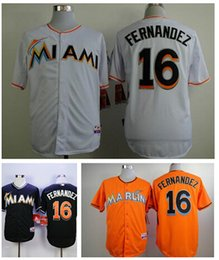 Wholesale 16 Jose Fernandez jerseys Christian Yelich Giancarlo Stanton orange white darkblue jerseys Miami Marlins cool base baseball Jersey