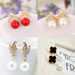 New fashion Crown Butterfly Flower Angel Wings pearl earrings for women high quality Gold Plated jewelry white pink pearl earrings
