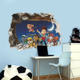 Wholesale 3D Paw Patrol Snow Slide Wall Stickers For Kids Room Decor Diy Adesivos de Paredes Home Decals M ural Arts Movie Poster ZD027