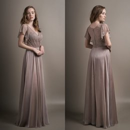 Wholesale Short Cheap Stylish Dresses - Stylish Lace Bridesmaid Dresses Cheap Long A-Line V Neck Short Sleeves Wedding Guest Dress Floor Length Pleated Party Gowns