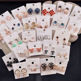 Wholesale A variety of styles mixed fashion jewelry elegant earrings grape clover Pentagram triangle Butterfly Earrings apple anchor SD60