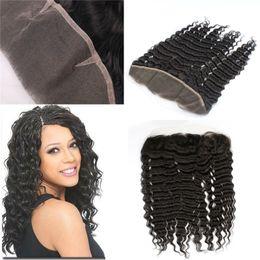 Descuento 7a encierro del pelo de la onda profunda Grado 7A Brazilian Lace Frontal Closures Ola Profunda 13x4 Encaje Frontal 100% Sin Procesar Pelo Humano Natural Negro Color