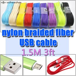 1.5M Colorful Nylon Braided Round USB Cable Strong Fabric Micro USB and USB 2.0 Data Sync Charging Cable for Android Smartphone