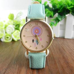 2016 Nuevo Reloj de pulsera para niñas Dreamcatcher Amistad Mujeres Señoras Oro rosa Dial Relojes de cuero Ginebra Reloj