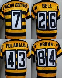 Wholesale Stitched Pittsburgh Elite football jerseys Steelers jerseys Seasons Bumble bee ROETHLISBERGER BELL POLAMALU BROWN freeship