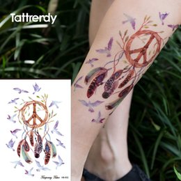 Wholesale pc flash trendy body art painting dreamcatcher on arm low back big tattoo dream catcher birds feather butterfly tribal new