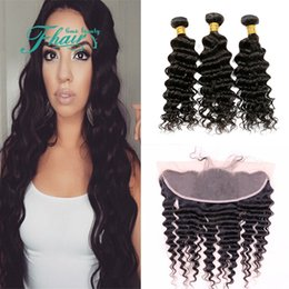 "9A Indian Deep Wave Hair With Frontal Closure,3 Bundles With 13x4 Lace Frontal Closure 4Pcs Lot 8""-30""Inch Length Hair"