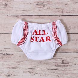 Wholesale Sport Baby Shorts Baseball Pattern Knit Cotton Mid Waist Girls Boy Bloomer Sport Season Baby Diaper Cover
