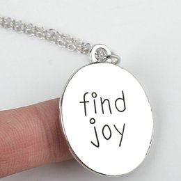 Wholesale 14pcs jewelry silver plated alloy punk Statement Lettering Find Joy high polished round pendant necklace women men eBay Hot x261
