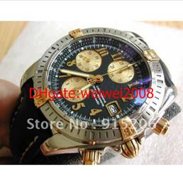 Wholesale chronomat evolution k gold steel B13356 Chronograph Date Very nice Watch Men s Sports Wrist Watches Black Dial