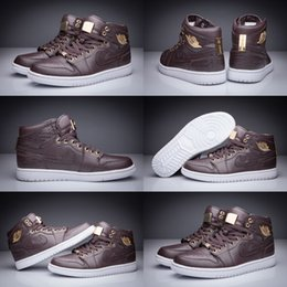 Wholesale With shoes Box Hot Sale Retro I High Pinnacle Baroque Brown Croc Metallic Gold Men Basketball Sport Sneakers Kids Shoes