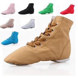 buy dance sneaker pink - Wholesale-Cheap New Men Women Fashion Sports Dancing Sneakers Jazz Dance Shoes Lace Up Dancing Boots Blue Red Black Tan Green White 5141