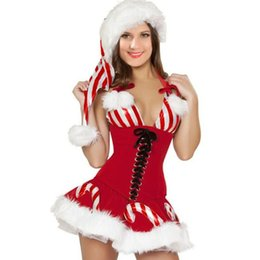 Wholesale Girls red christmas dress adult costumes hot sale candy cane corset sexy xmas costume for women role play outfits